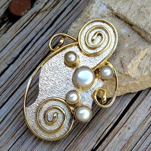 Vintage 80s 925 & 14k Gold Vermeil Pendant Brooch